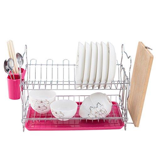 Lying キッチン棚ドレインラックボウルシェルフドリッピングの食器棚キッチンストレージラック キッチンを整えるために使用 ( 色 : ピンク ぴんく ) B078MYX37Mピンク ぴんく