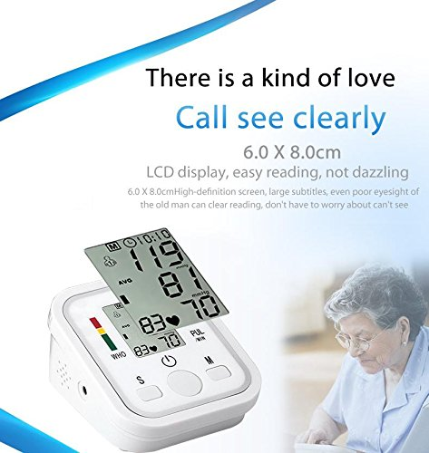 Lee Goal automático digital LCD Arm Tensiómetro LCD Corazón Impacto la Página de inicio sphygmo Manómetro, Color blanco: Amazon.es: Hogar
