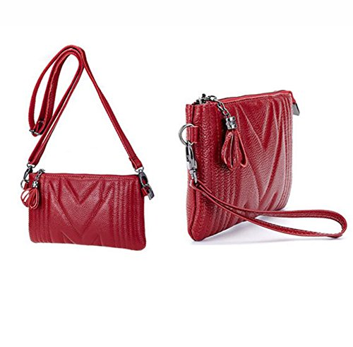 Capacity Wine with Bag Wallet Bag DcSpring with Elegant Cross Small Mini Leather Ladies Shoulder Zip Large body Strap Women's Red Wrist Bag Organizer Clutch Long Genuine AqSwqRxg7