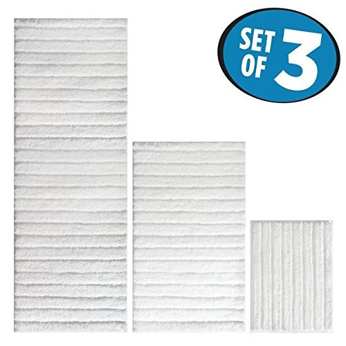 mDesign Soft Microfiber Non-Slip Bathroom Mat/Rug Set for Vanity, Bathtub/Shower, Dorm Room - Set of 3, White (Tiered Basket Floor Stand)
