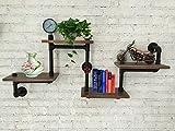 Industrial Rustic Modern Wood Ladder Pipe Wall Shelf 4 Layer Pipe Design Bookshelf Diy Shelving