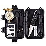 Outdoor Survival Tool,10 in 1 Professional Survival Kit with Fire Starter ...