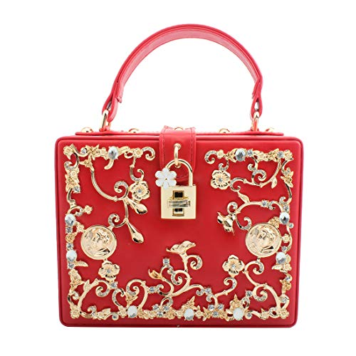(LETODE Women's Vintage Style And Crystal Rhinestone Evening Bag Wedding Party Handbag Clutch Purse (RED))
