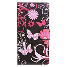 Acer Liquid Z410 Case, Candy House Acer Liquid Z410 Coque PU Leather Case Horizontal Wallet Case Magnetic Closure Flip Cover [Flower Series Pattern] Butterfly Flowers