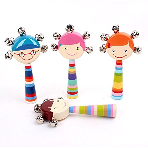 Hand Shake Belles Jingle Bells for Kid&Baby&ToddlerΧldren Early Music Education Vivid Color Cartoon Characters Cute Colorful Instrument Education Toy(1 Piece Color Ramdom) by (Belle Bell)