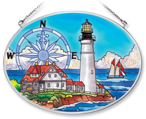 Amia Hand Painted Glass Suncatcher with Portland Head Lighthouse Design, 5-1/4-Inch by 7-Inch Oval