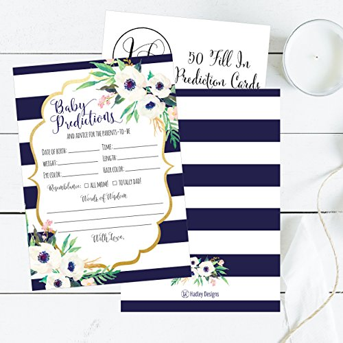 50 Navy Floral Advice and Prediction Cards for Baby Shower Game, New Mom & Dad Card Mommy & Daddy To Be, For Girl or Boy Babies New Parent Message Advice Book, Fun Gender Neutral Shower Party Favors