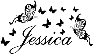 Home Find Jessica Girls Name Butterfly Removable Vinyl Wall Decals for Girls Room Personalized Children Wall Art Black 22 inches x 13 inches