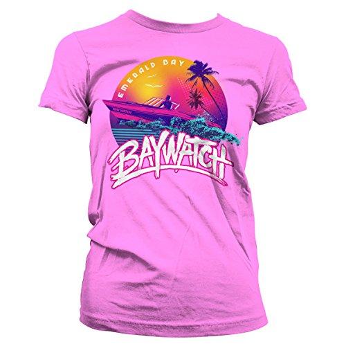 Baywatch Officially Licensed Emerald Bay Women T-Shirt (Pink), Medium]()