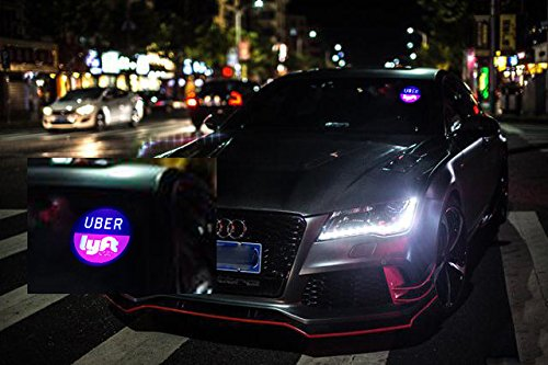 Uber Lyft LED Light Sign Logo Sticker Decal Glow Wireless Decal Accessories Removable Uber Lyft Glowing Sign For Car Taxi Uber Lyft Light Up Dry Battery Power