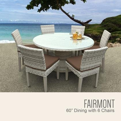 TK Classics FAIRMONT-60-KIT-6C-COCOA Fairmont 60 Inch Outdoor Patio Dining Table with 6 Armless Chairs with 2 Covers: Beige and (Fairmont Dining Set)