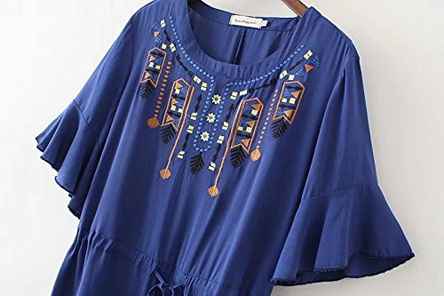 Aeneontrue Summer Blue with Ethnic Women's Sleeve Dress Drawstring Style Waist Dresses Ruffle Embroidery ff6rBwq
