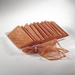 Sheer Decorative Organza Dinner Napkins, 20-inch Square, Set of 12 (Copper)