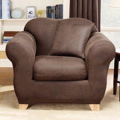 Sure Fit Stretch Leather 2-Piece - Chair Slipcover  - Brown (SF37334) by Surefit