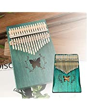 17 Key Kalimba Thumb Piano, Finger Piano with EVA Waterproof Hard Protective Case, Tuning Hammer and Music book, Portable Gifts for Kids and Adults Beginners - Blue Butterfly
