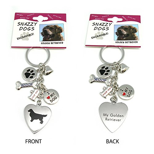Golden Retriever Keychain for Women, Girls, Boys, Men - Engraved Stainless Steel Dog Key Ring with Charms – Cute I Love My Dog Key Fob Gift - Cute Pet Accessories by Frogsac USA (Jewelry Rottweiler)