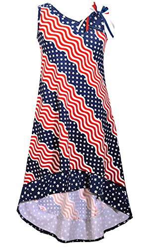Bonnie Jean Big Girls Red White Blue Americana 4th July Dress (10, Navy)