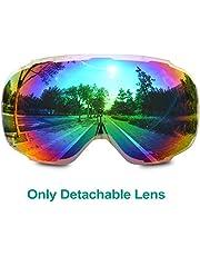 Odoland Skibrille für Kinder und Jugendliche 6-15 Jahre, magnetisches abnehmbares Brillenglas, UV400-Schutz und Anti-Fog-Objektiv, Doppelkugelbrille für sonnige und bewölkte Tage