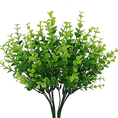 "Senjie 4pcs Artificial Shrubs Plants 14"" Eucalyptus Leaves Fake Bushes Home Garden DIY Decor Light Green"