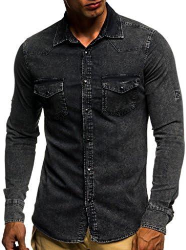 LEIF NELSON - Camisa casual - para hombre negro large: Amazon.es: Ropa y accesorios