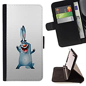DEVIL CASE - FOR Samsung Galaxy S6 - Bunny Dog Ears Big Blue Cartoon Drawing Smile - Style PU Leather Case Wallet Flip Stand Flap Closure Cover