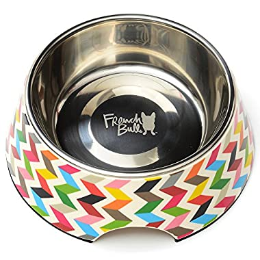 French Bull Stainless Steel and Melamine Designer Dog Bowls for Dogs or Cats, Medium, White