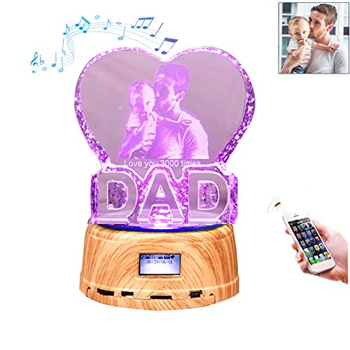Father Day Gift Personalized Photo Night Light Bluetooth Led Lamp Color Changing Music Player DAD Gift for ()