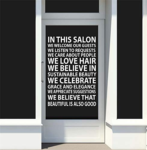 Ziues Quotes Vinyl Wall Art Decals Saying Words Removable Lettering in This Salon We Welcome Our Guests We Listen to Requests for Beauty Salon Barbershop -
