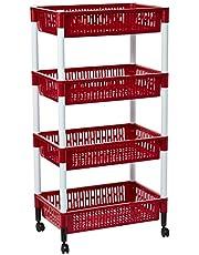 Cosmoplast Multi-Purpose Plastic Trolley Vegetable Rack 4 Tiers