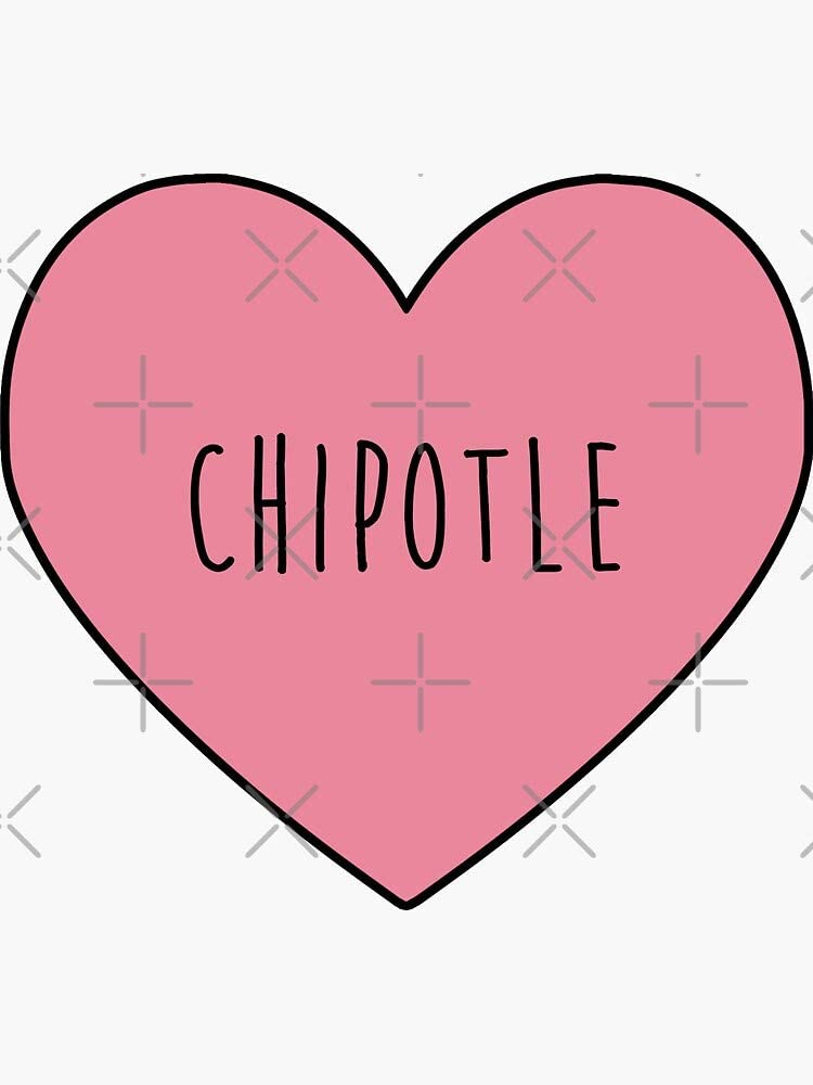 Chipotle Heart Sticker - Sticker Graphic -Stickers for Hydroflask Water Bottles Laptop Computer Skateboard, Waterproof Decal Stickers