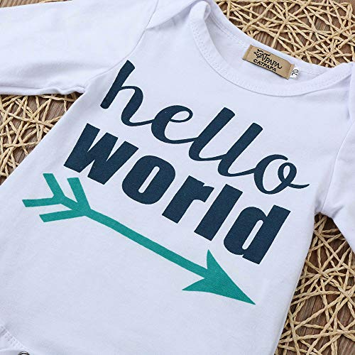 Lettre Ensemble World animal Fille Bébé Garçon Cartoon White Long Romper 3pcs Tops Chshe De Vêtements Tenues Chapeau Hello Pantalon qIZX8Fww