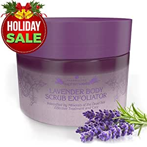 Salt & Oil Based Lavender Body Scrub for Women & Men, 14 Oz, Dead Sea Salts Exfoliator: Goodbye Blackheads, Ingrown Hairs and Acne! Soft Cleanser & Moisturizer with Natural & Organic Essential Oils
