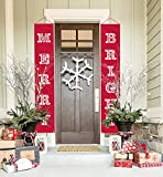 ATool Merry Bright Christmas Banner, Christmas Decorations Outdoor Indoor | Merry Bright Porch Sign | Red Xmas Decoration Banners for Home Wall Door Apartment Party