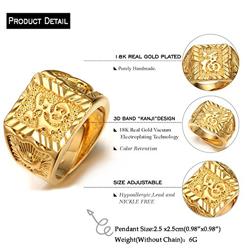 "Halukakah ""GOLD BLESS ALL"" Men s 18K Gold Plated KANJI Ring ""RICH"