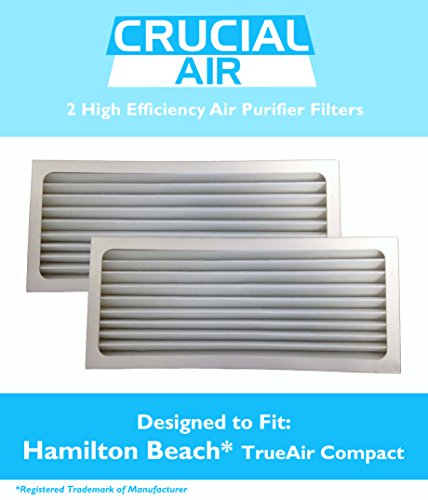 2 Crucial Air Replacement Air Purifier Filter Fit Hamilton Beach True Air 04383 Glow 04385 990051000 (True Reducer Air Allergen)