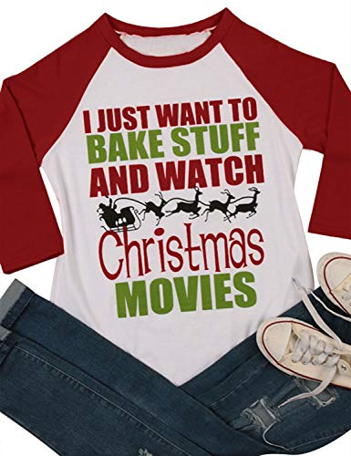 Nlife Women I JUST Want to Bake Stuff Watch Christmas Movies Blouse Casual Tops