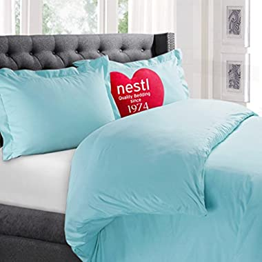 Nestl Bedding Duvet Cover, Protects and Covers your Comforter / Duvet Insert, Luxury 100% Super Soft Microfiber, King Size, Color Aqua Light Blue, 3 Piece Duvet Cover Set Includes 2 Pillow Shams