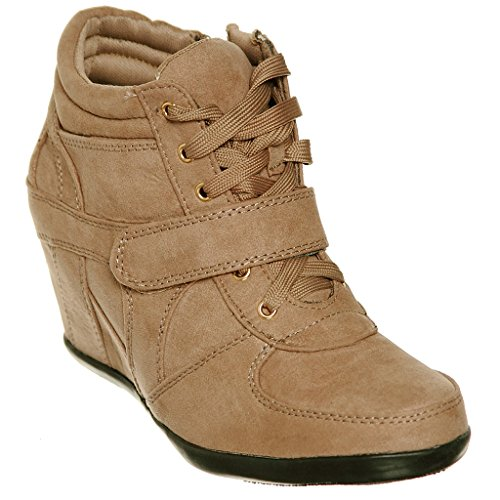 Pl shoewhatever up Fashion Wedge Taupe87 Women's Hi Top Lace Sneakers rryq5YTw