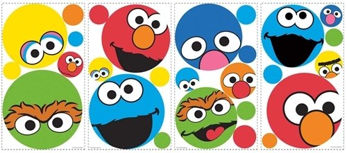 Amazon.com: SESAME STREET 27 BiG Wall Stickers Polka Dot Decal ELMO ABBY  Room Decor BIG BIRD: Home u0026 Kitchen