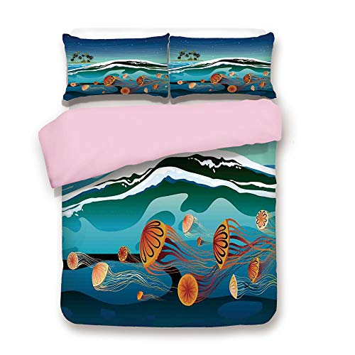 Pink Duvet Cover Set,FULL Size,Jellyfish in the Sea and Coconut Island Trees Waves Under Starry Night Sky,Decorative 3 Piece Bedding Set with 2 Pillow Sham,Best Gift For Girls Women,Navy Mustard