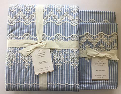 Pottery Barn Eyelet Stripe Duvet Cover King/California & Two Euro Shams Blue~