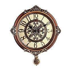 Mute The Continental Retro Wall Clock Office Creative Fashion Watches Luxury Minimalist Living Room Bedroom Clocks,16 Inch,D--66151C Café (With Pendulum)