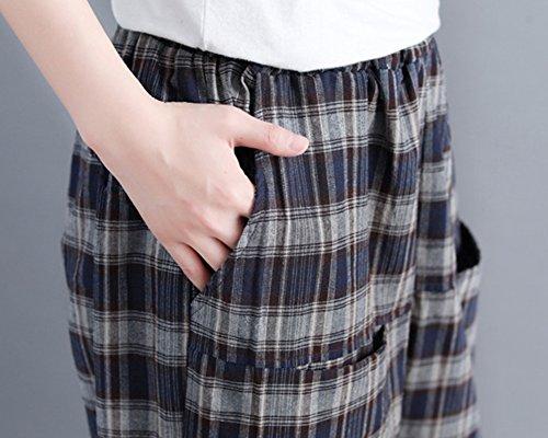 Donna Classico Tartan Morbidi E Pantaloni Taglie Forti Confortevoli Marina qpa7q