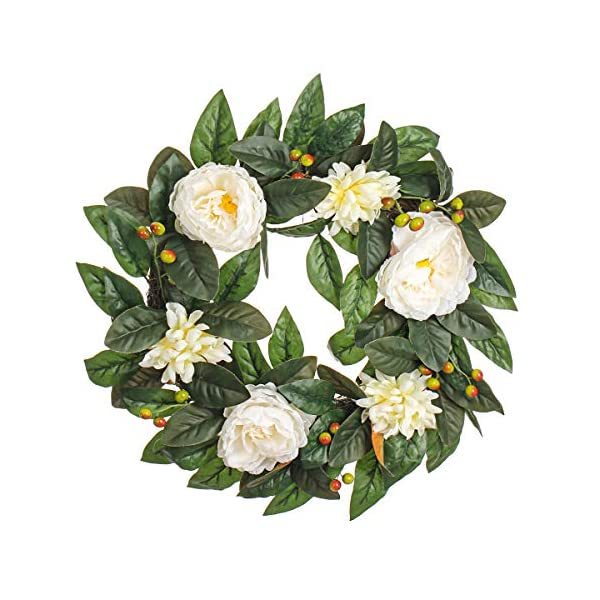 MIXNOVO Summer Wreath for Front Door,Silk Rose 22 Inch Wreath with Daisy and Berry, Gorgeous Artificial Flower Wreath for Wall Window Party Décor, Beautiful Box Included