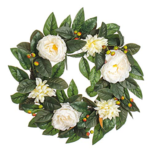 MIXNOVO Silk Rose 22 Inch Wreath with Daisy and Berry, Gorgeous Faux Summer Flower Wreath for Front Door Wall Window Party Décor, Beautiful Gift Box Included (Best Flowers For Window Boxes Spring And Summer)