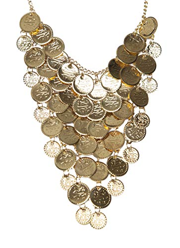 Arsimus Belly Dance Gypsy Coin Necklace (Gold)