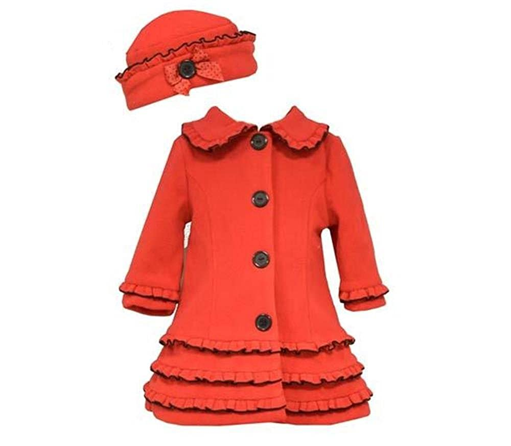 Bonnie Jean Baby Girls Red Coat & Hat with Black Trim & Buttons, 3-6 Months W06300-6M