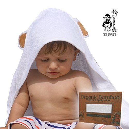 S3 Baby Bamboo Hooded Baby Bath Towel w/ 2 Plush Washcloths | Soft, Naturally Hypoallergenic, Super Absorbent | Gentle on Sensitive Skin | Babies, Infants, Toddlers