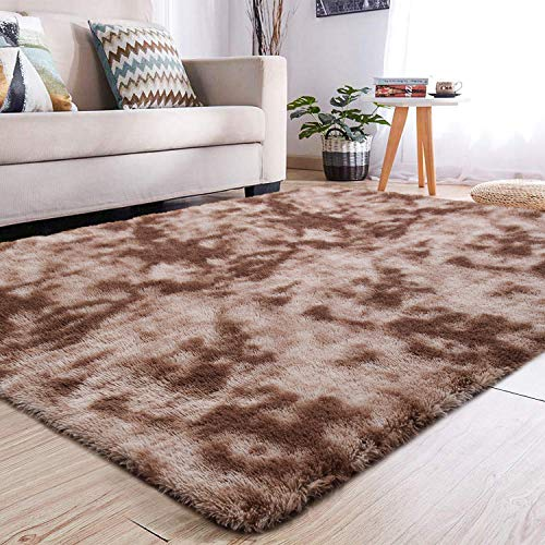 YJ.GWL Soft Shaggy Area Rugs for Girls Room Bedroom Non-Slip Kids Carpet Baby Nursery Decor Fluffy Modern Rug 4 x 6 Feet Coffee