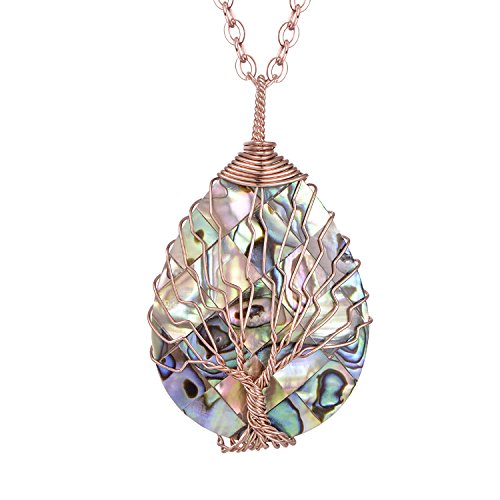 Buy now Tear Drop Abalone Tree of Life Necklace